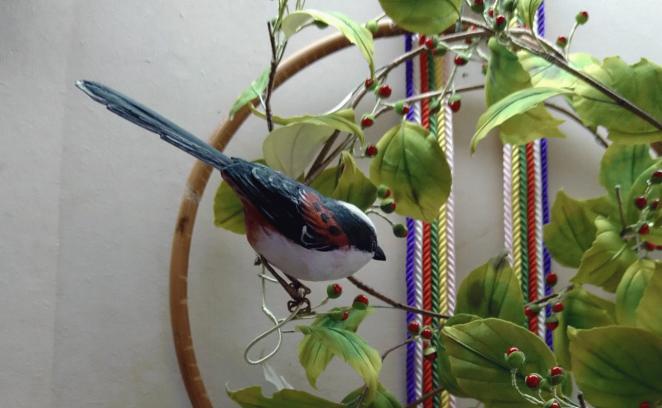 ツルウメモドキの平薬 鳥のアップ
