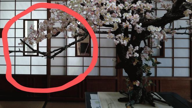 染井吉野の木組み赤い丸